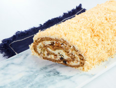 Carrot Cake Roll with Honey Cream Cheese Frosting