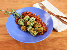 "Spinach-Cauliflower ""Gnocchi"" with Sun-Dried Tomato Pesto"