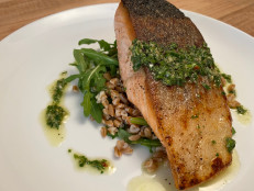 Salmon Fillets with Salsa Verde and Farro Salad