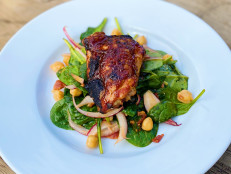 Sweet and Spicy Honey-Glazed Grilled Chicken with Spinach Salad and Pantry Dressing
