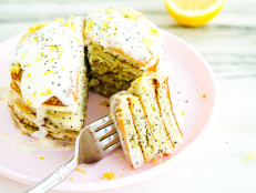 Lemon-Poppy Seed Pancakes with Honey and Lemon Creme Fraiche