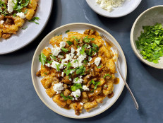 Tater Tot Waffles with Saucy Sausage and Feta