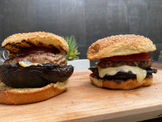 Portobello Mushroom and Swiss Turkey Burgers