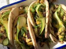 Grilled Veggie Pitas with Chickpeas and Tahini Sauce