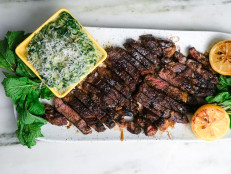 Reverse-Seared Rib-Eyes with Parmesan Creamed Spinach and Charred Lemon