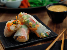 Seared Garlicky Shrimp Fresh Spring Rolls