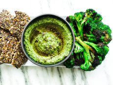 Bright Green Hummus with Charred Broccoli