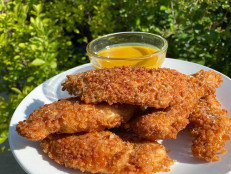 Pretzel-Crusted Chicken Fingers with Honey Mustard Dipping Sauce