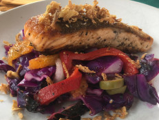 Crispy-Skin Salmon Provencal with Charred Red Cabbage Salad