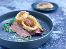 Grilled Flank Steak with Onion Rings