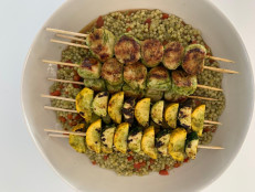 Grilled Cilantro-Lime Scallops with Zucchini and Couscous