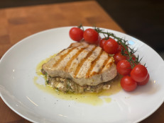 Grilled Swordfish with Charred Eggplant and Smoky Tomatoes