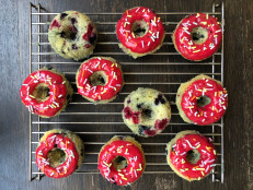 Citrus-Berry Baked Doughnuts with Pink Glaze