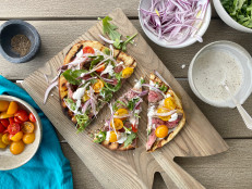 Grilled Steak Flatbreads with Horseradish Dressing