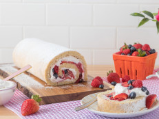 Coconut and Berry Cream Roll