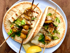 Grilled Chicken Kebabs with Pita, Halloumi and Shaved Cucumber Salad