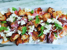 Melon and Feta Salad with Sourdough Croutons and Mint
