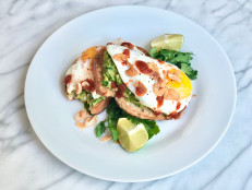 Avocado Toasts with Fried Eggs, Super Crispy Garlic and Chile