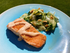 Crispy Salmon with Cucumber Salad and Spicy Mayo