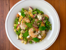 Grilled Shrimp, Corn and Snap Pea Salad with Feta