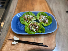 Ground Pork, Water Chestnuts and Crispy Noodle Lettuce Cups