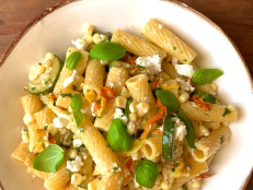 Zucchini, Feta and Squash Blossom Pasta
