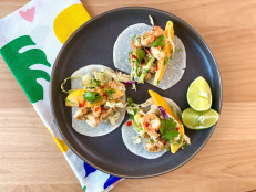 Shrimp Tacos with Mango Slaw and Jicama Tortillas