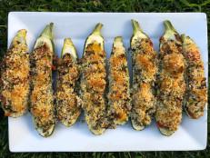 Lemony Wild Rice Zucchini Boats