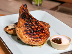 Hoisin-Glazed Pork Chops with Dijon Dipping Sauce