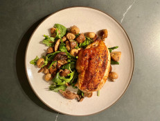 Crispy-Skin Chicken Breasts with Warm Mushroom Salad