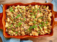 Vegan Sourdough Stuffing with Wild Mushrooms and Walnuts