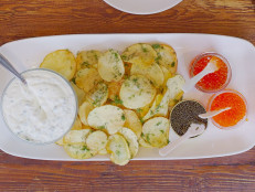 House-Made Potato Chips with Caviar and Lemon Creme Fraiche