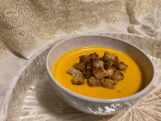 Carrot-Ginger Soup with Curried Croutons