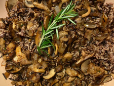 Wild Rice with Rosemary and Garlicky Mushrooms