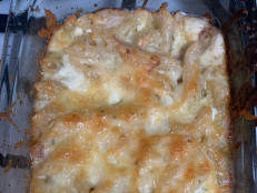 Spiked Rosemary Macaroni and Cheese Pie with Caramelized Shallots