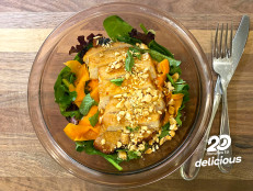 Honey-Glazed Pork Chops with Shaved Carrot and Mint Salad