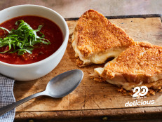 Tomato Soup for One with Parmesan Frico Grilled Cheese