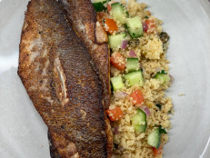 Pan-Seared Bass with Warm Couscous Salad