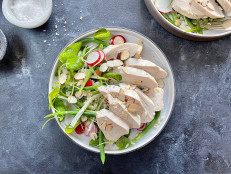 Almond-Poached Chicken with Brown Rice and Green Bean Salad