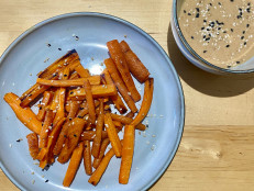 "Baked Carrot ""Fries"" with Tahini-Nut Butter Dip"