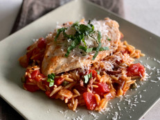 Orzo Puttanesca with Chicken