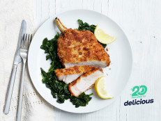 Crispy Pan-Fried Pork Chops with Sautéed Garlic Spinach