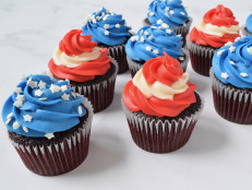 Red-White-and-Blue Red Velvet Cupcakes