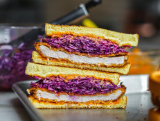 Gochujang Pork Cutlet Sandwiches with Purple Slaw