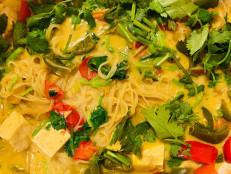 South Indian–Inspired Coconut Rice Noodles with Tofu and Vegetables