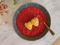 Pink Beet Risotto with Crispy Goat Cheese Medallions