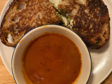 Masala Tomato Soup with Bombay Grilled Cheese Sandwiches