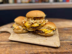 Oklahoma Onion Burgers with Creamy BBQ Coleslaw