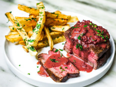 Steak Frites with Red Wine Reduction