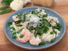 "Cauliflower ""Risotto"" with Shrimp and Peas"